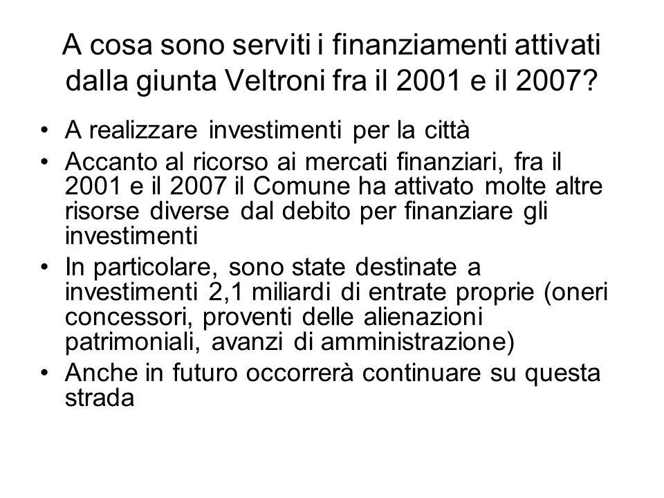 A cosa sono serviti i finanziamenti attivati dalla giunta Veltroni fra il 2001 e il 2007