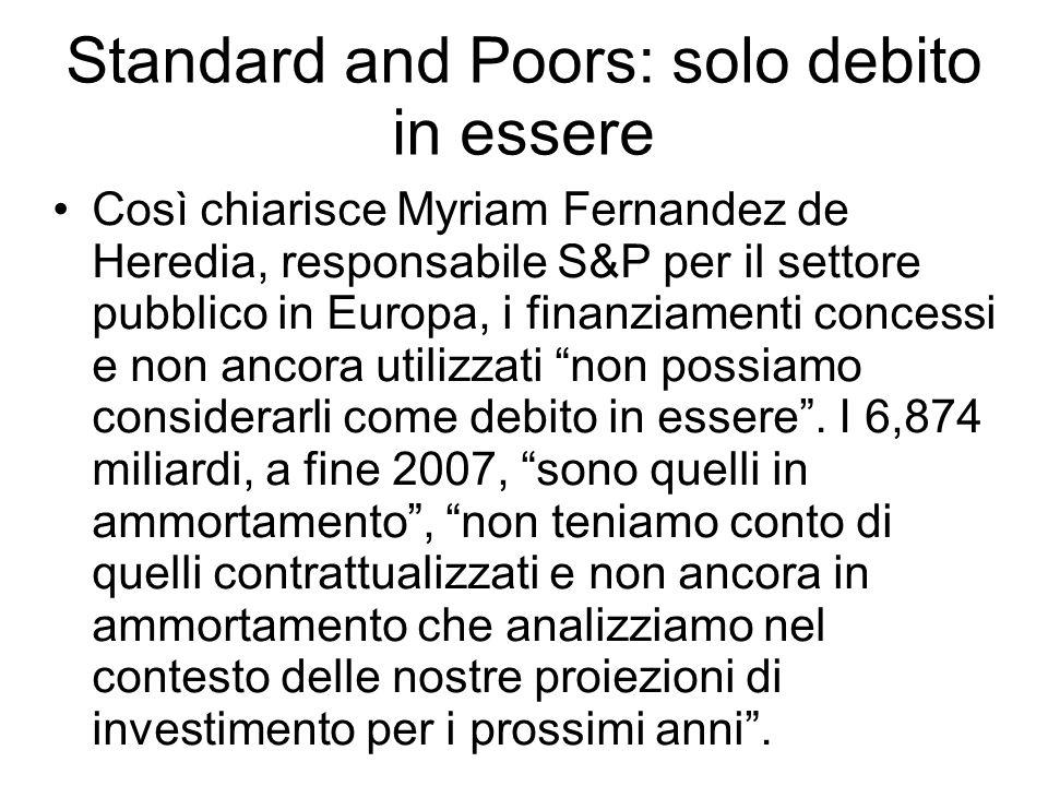 Standard and Poors: solo debito in essere