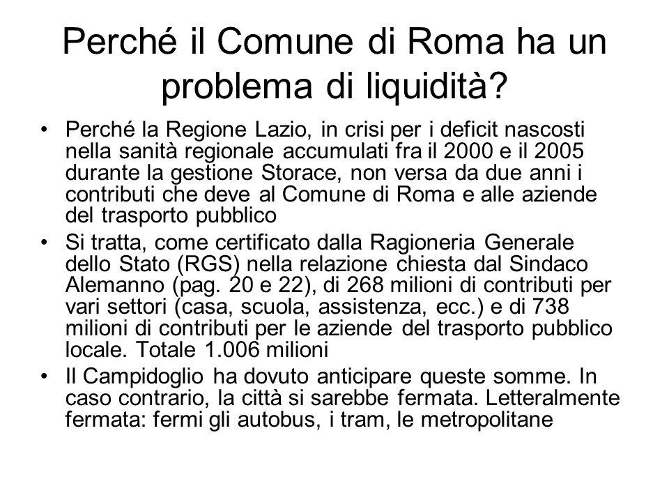 Perché il Comune di Roma ha un problema di liquidità