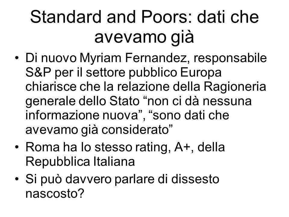 Standard and Poors: dati che avevamo già