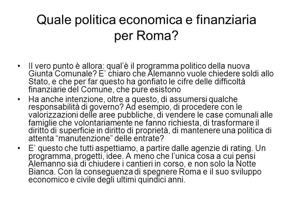 Quale politica economica e finanziaria per Roma