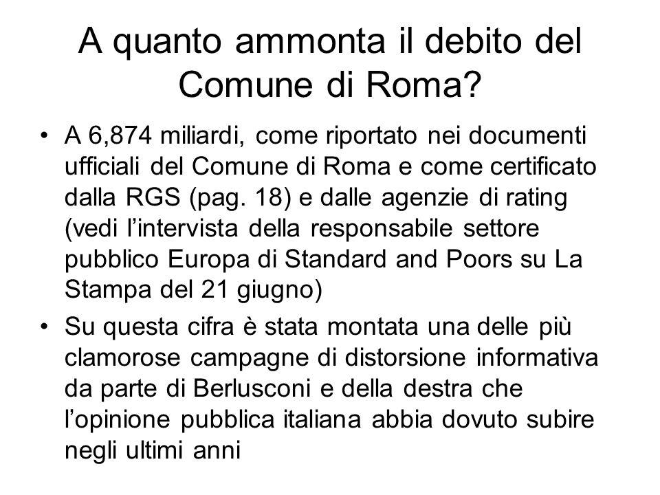 A quanto ammonta il debito del Comune di Roma