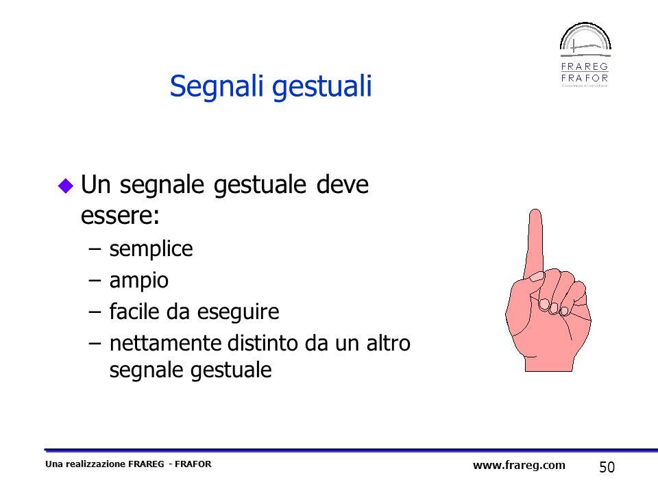 Segnali gestuali Un segnale gestuale deve essere: semplice ampio