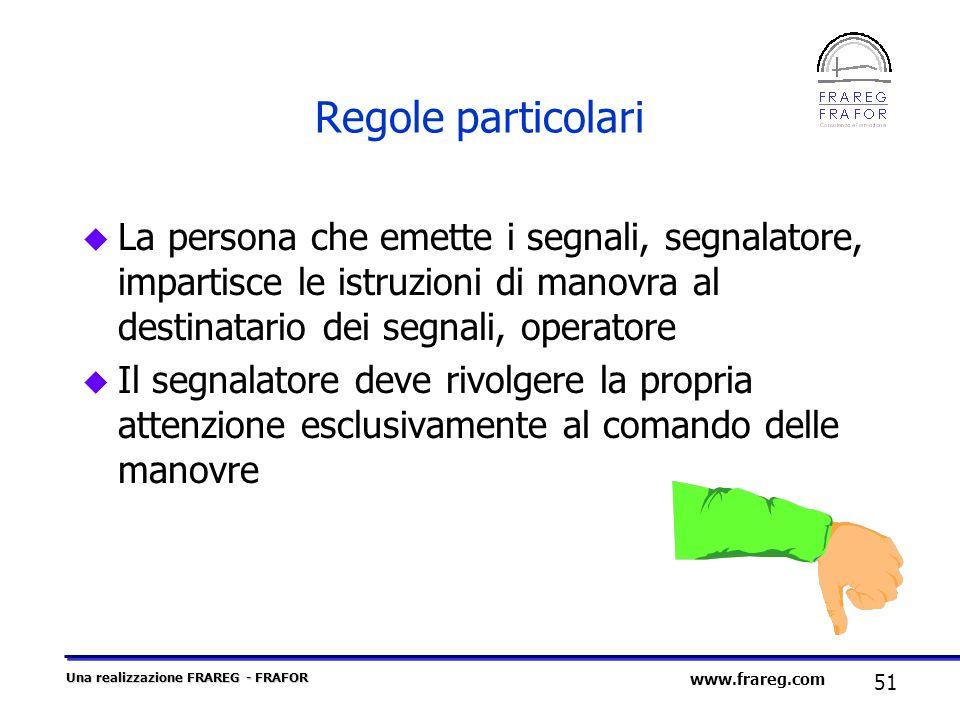 Regole particolariLa persona che emette i segnali, segnalatore, impartisce le istruzioni di manovra al destinatario dei segnali, operatore.