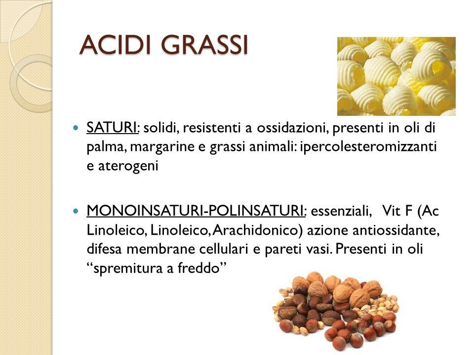 ACIDI GRASSI SATURI: solidi, resistenti a ossidazioni, presenti in oli di palma, margarine e grassi animali: ipercolesteromizzanti e aterogeni.