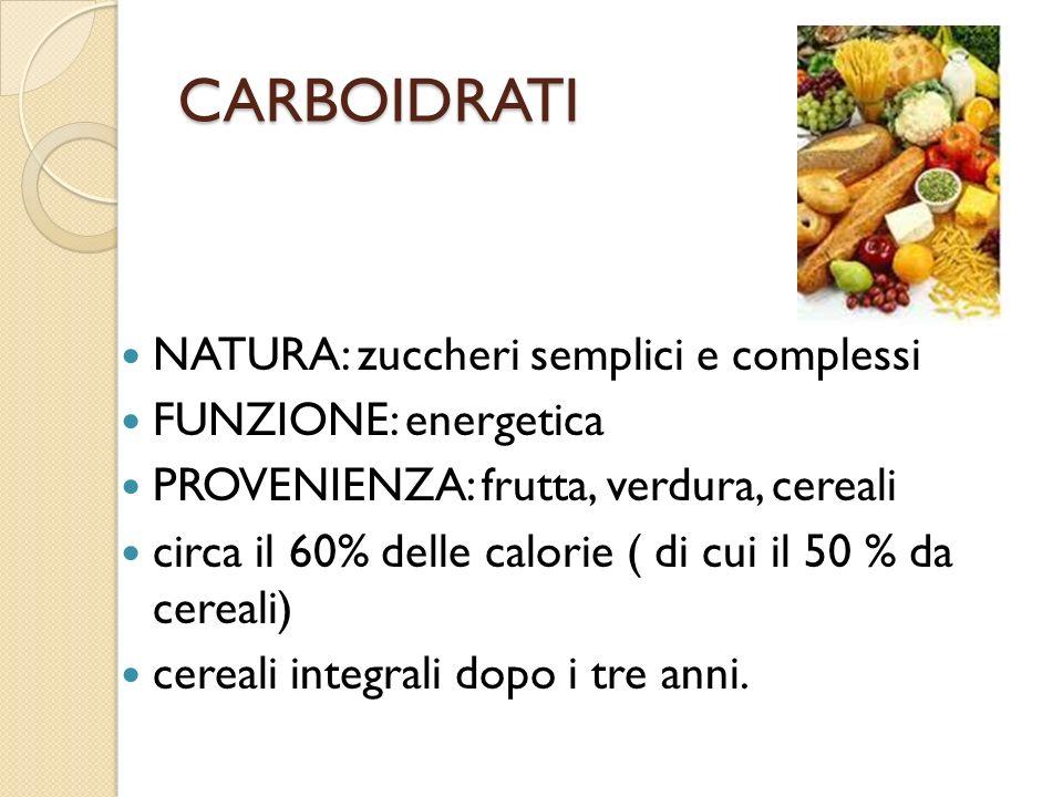 CARBOIDRATI NATURA: zuccheri semplici e complessi FUNZIONE: energetica