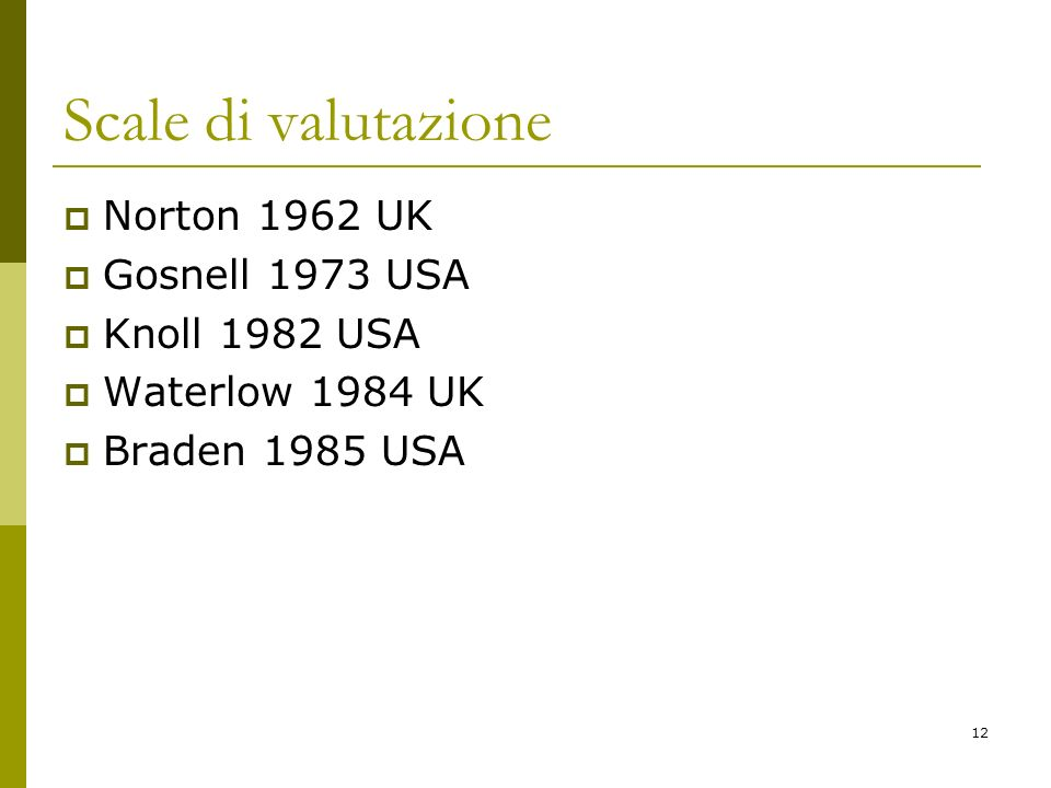 Scale di valutazione Norton 1962 UK Gosnell 1973 USA Knoll 1982 USA