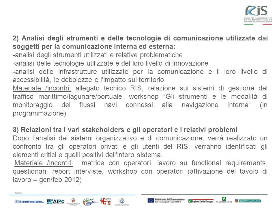 2) Analisi degli strumenti e delle tecnologie di comunicazione utilizzate dai soggetti per la comunicazione interna ed esterna: