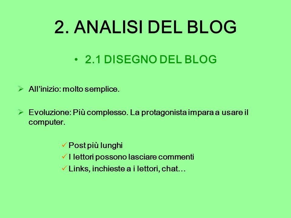 2. ANALISI DEL BLOG 2.1 DISEGNO DEL BLOG All'inizio: molto semplice.
