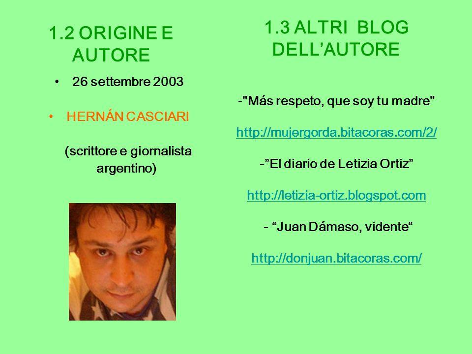 1.2 ORIGINE E AUTORE 1.3 ALTRI BLOG DELL'AUTORE