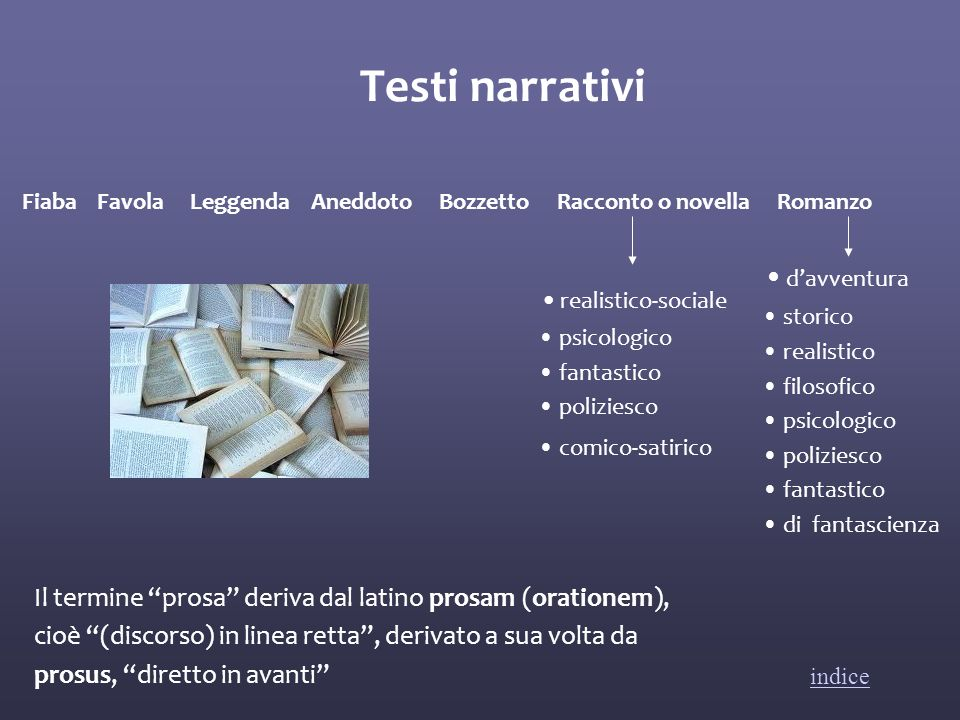 Testi narrativi Fiaba Favola Leggenda Aneddoto Bozzetto Racconto o novella Romanzo