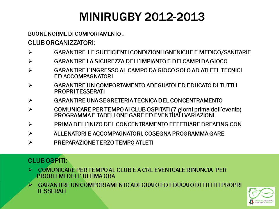 MINIRUGBY 2012-2013 CLUB ORGANIZZATORI: CLUB OSPITI: