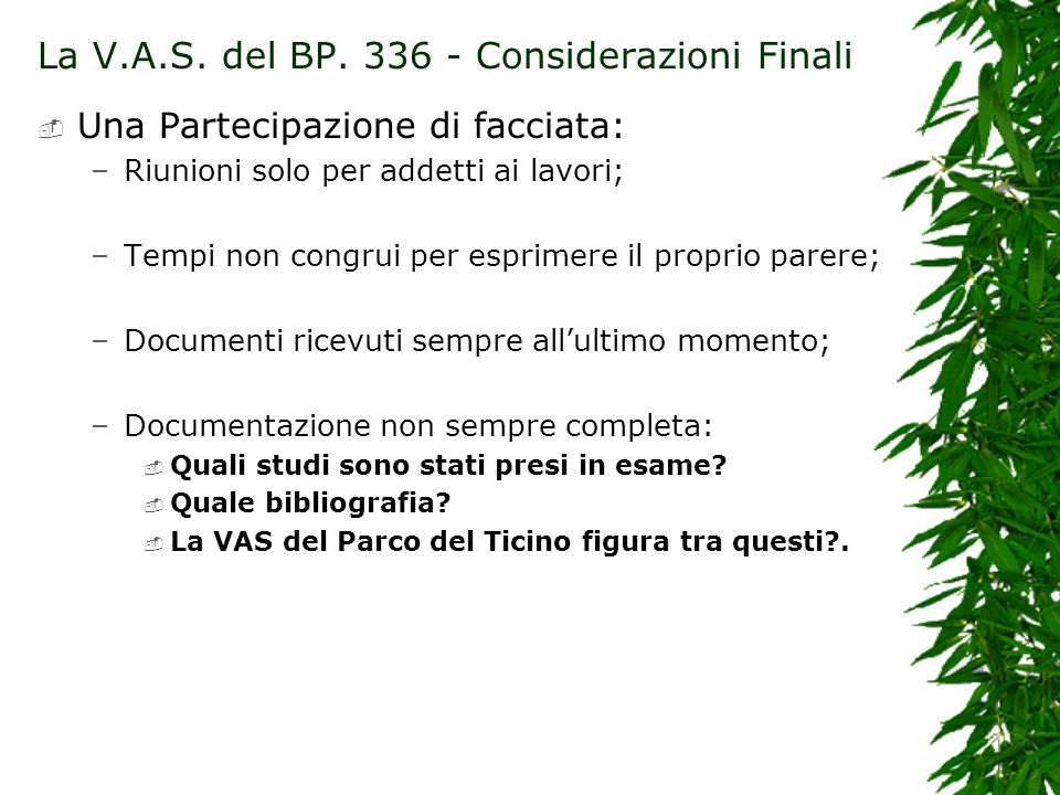 La V.A.S. del BP. 336 - Considerazioni Finali