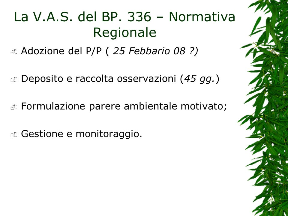 La V.A.S. del BP. 336 – Normativa Regionale