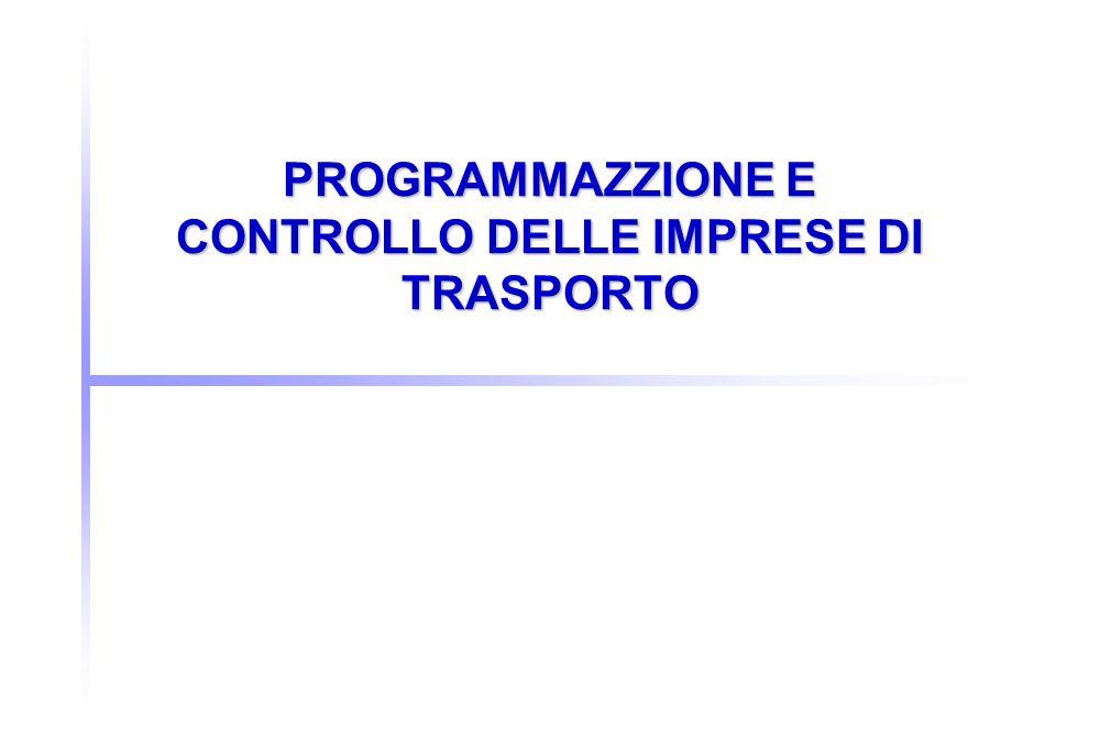 PROGRAMMAZZIONE E CONTROLLO DELLE IMPRESE DI TRASPORTO