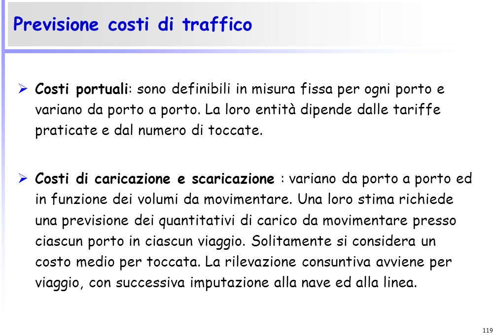 Previsione costi di traffico