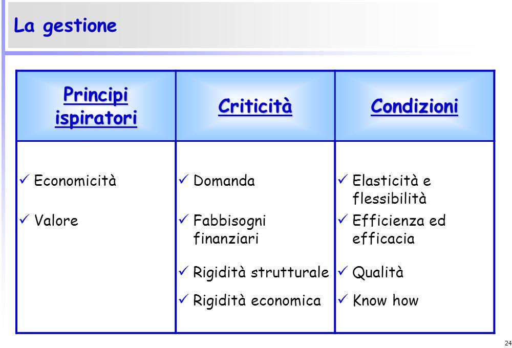 Principi ispiratori Criticità Condizioni