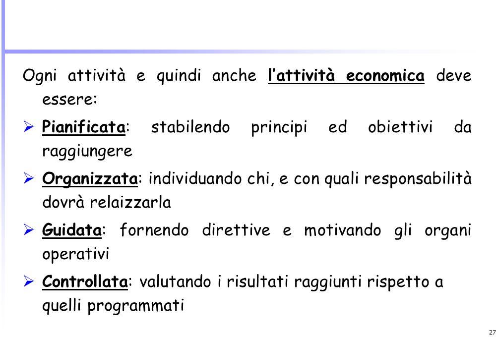 Ogni attività e quindi anche l'attività economica deve essere: