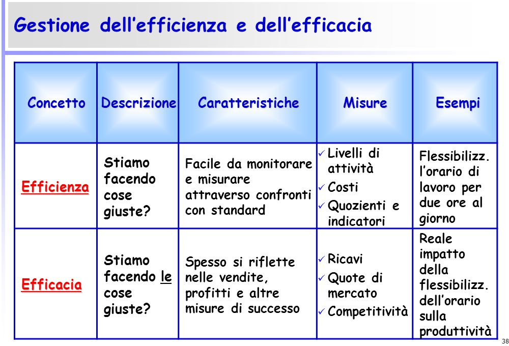 Gestione dell'efficienza e dell'efficacia