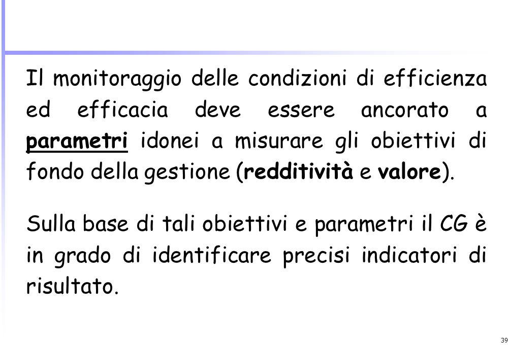 Il monitoraggio delle condizioni di efficienza ed efficacia deve essere ancorato a parametri idonei a misurare gli obiettivi di fondo della gestione (redditività e valore).