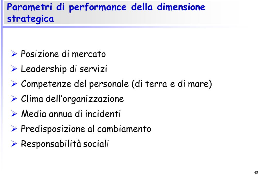 Parametri di performance della dimensione strategica