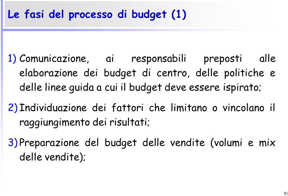 Le fasi del processo di budget (1)