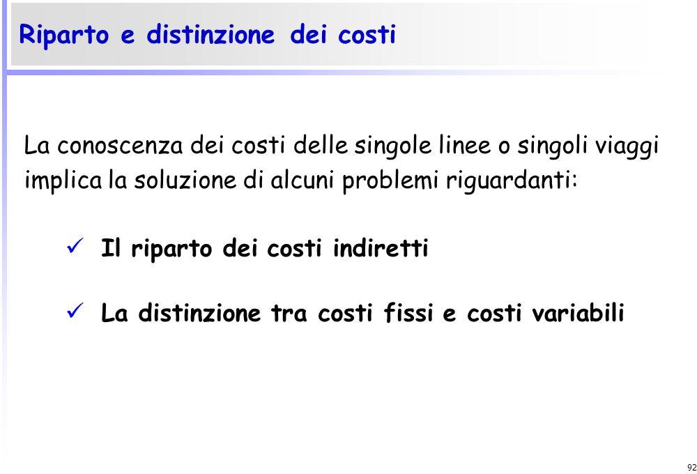 Riparto e distinzione dei costi