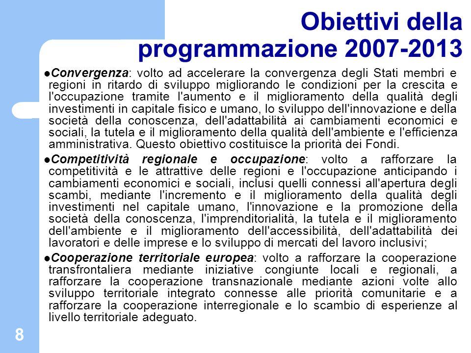 Obiettivi della programmazione 2007-2013