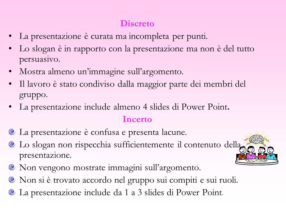 Discreto La presentazione è curata ma incompleta per punti. Lo slogan è in rapporto con la presentazione ma non è del tutto persuasivo.