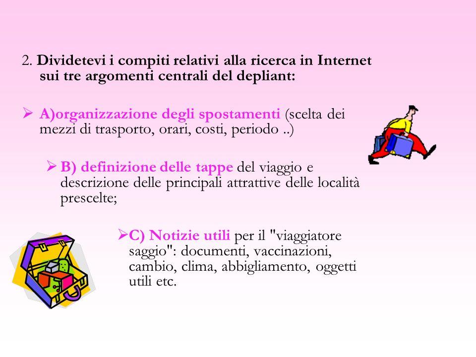 2. Dividetevi i compiti relativi alla ricerca in Internet sui tre argomenti centrali del depliant: