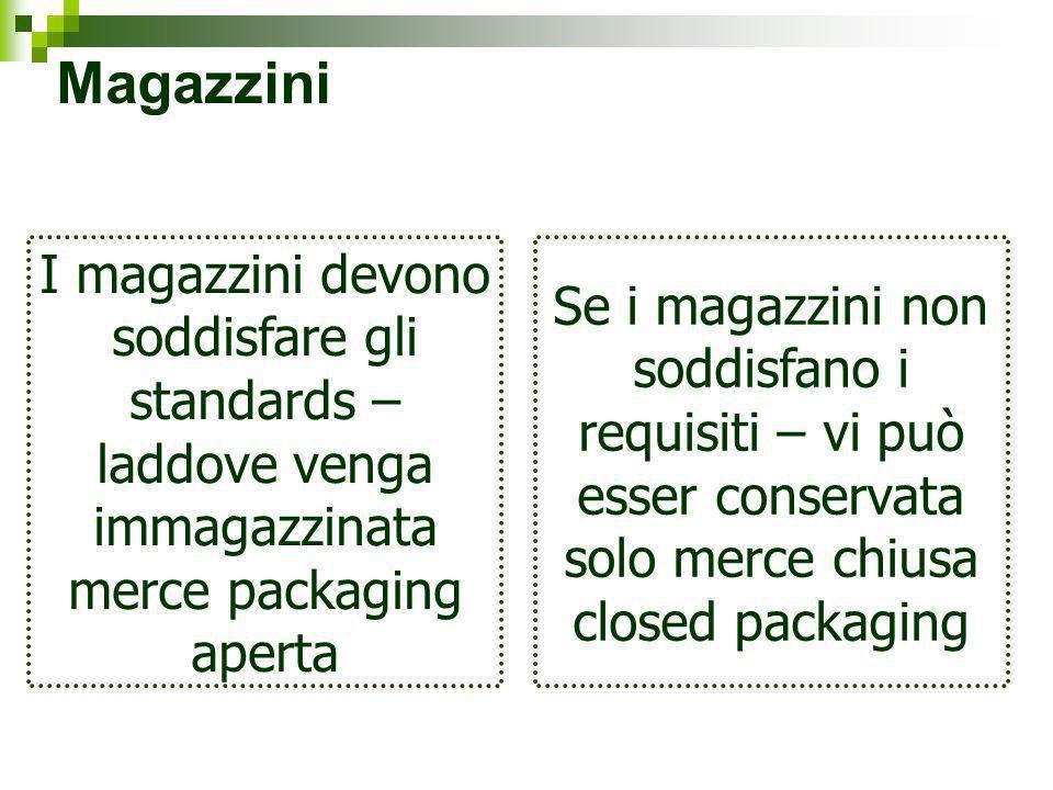 Magazzini I magazzini devono soddisfare gli standards – laddove venga immagazzinata merce packaging aperta.