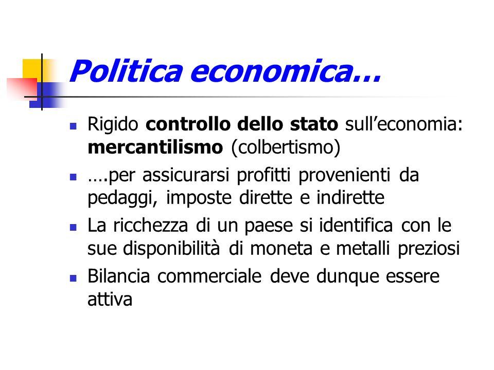 Politica economica…Rigido controllo dello stato sull'economia: mercantilismo (colbertismo)
