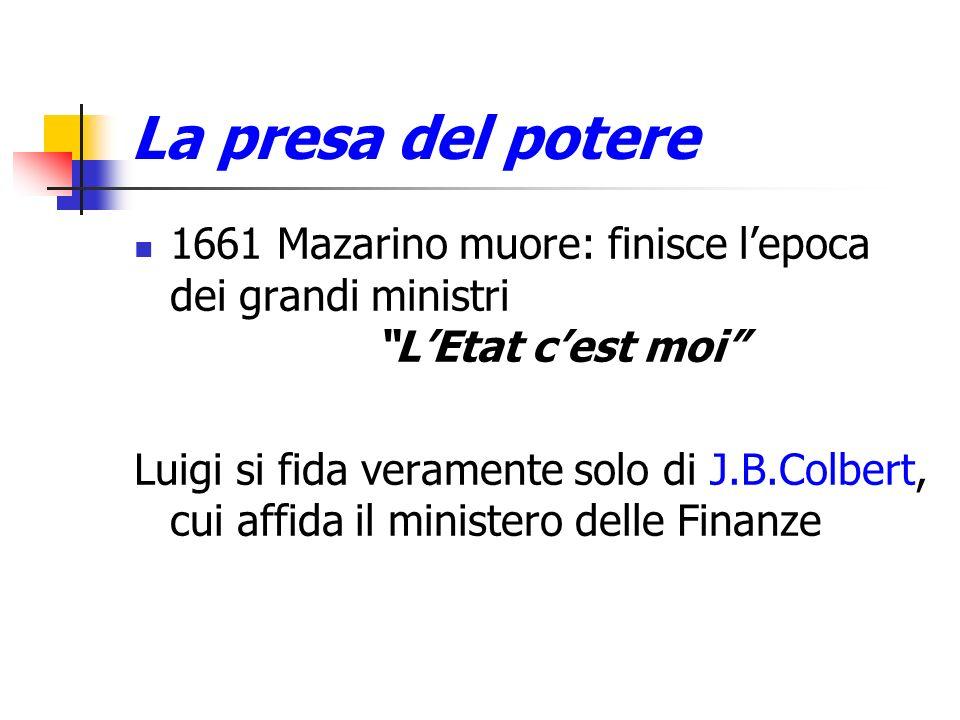 La presa del potere1661 Mazarino muore: finisce l'epoca dei grandi ministri. L'Etat c'est moi