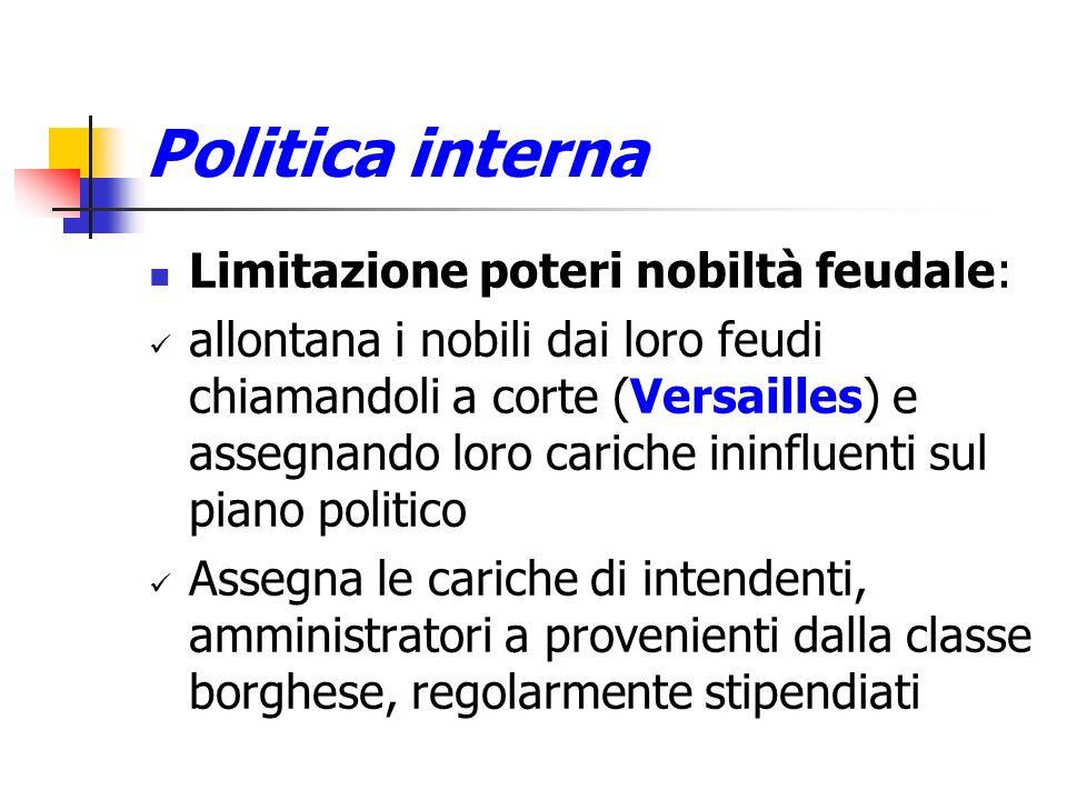Politica interna Limitazione poteri nobiltà feudale: