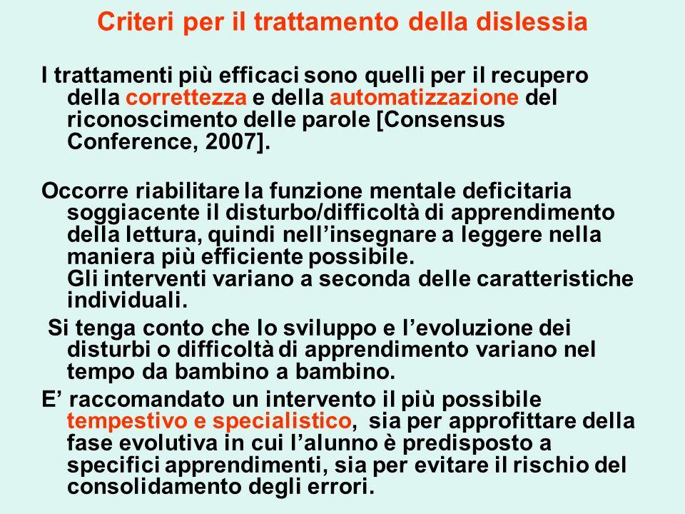 Criteri per il trattamento della dislessia