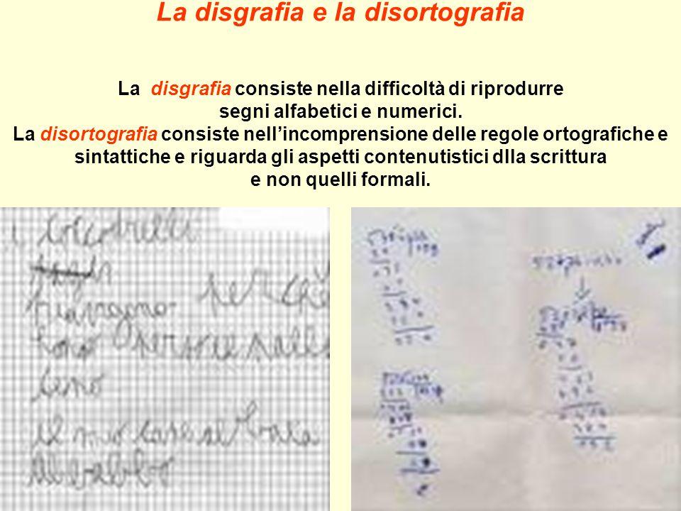 La disgrafia e la disortografia La disgrafia consiste nella difficoltà di riprodurre segni alfabetici e numerici.