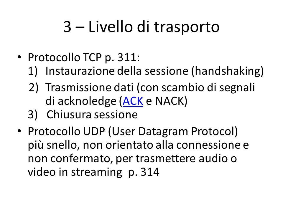 3 – Livello di trasporto Protocollo TCP p. 311: 1) Instaurazione della sessione (handshaking)