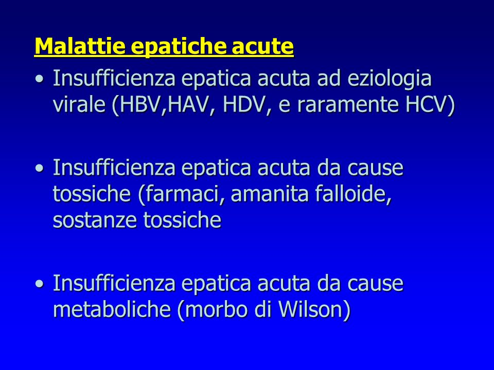 Malattie epatiche acute