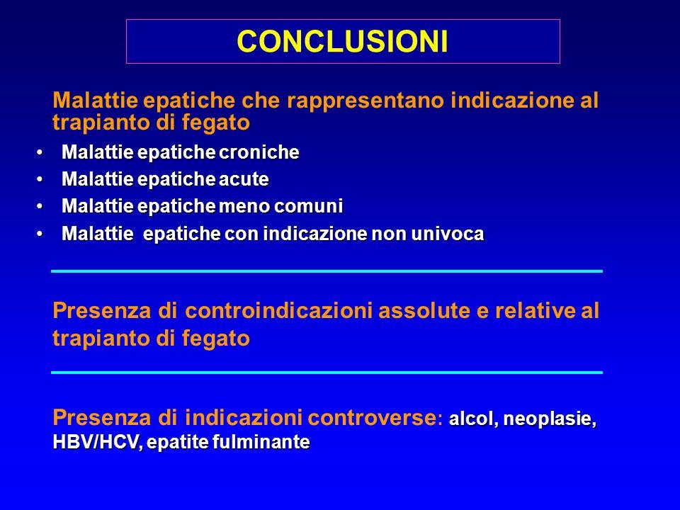 Malattie epatiche che rappresentano indicazione al trapianto di fegato