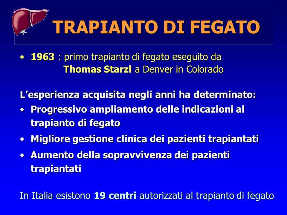 TRAPIANTO DI FEGATO 1963 : primo trapianto di fegato eseguito da