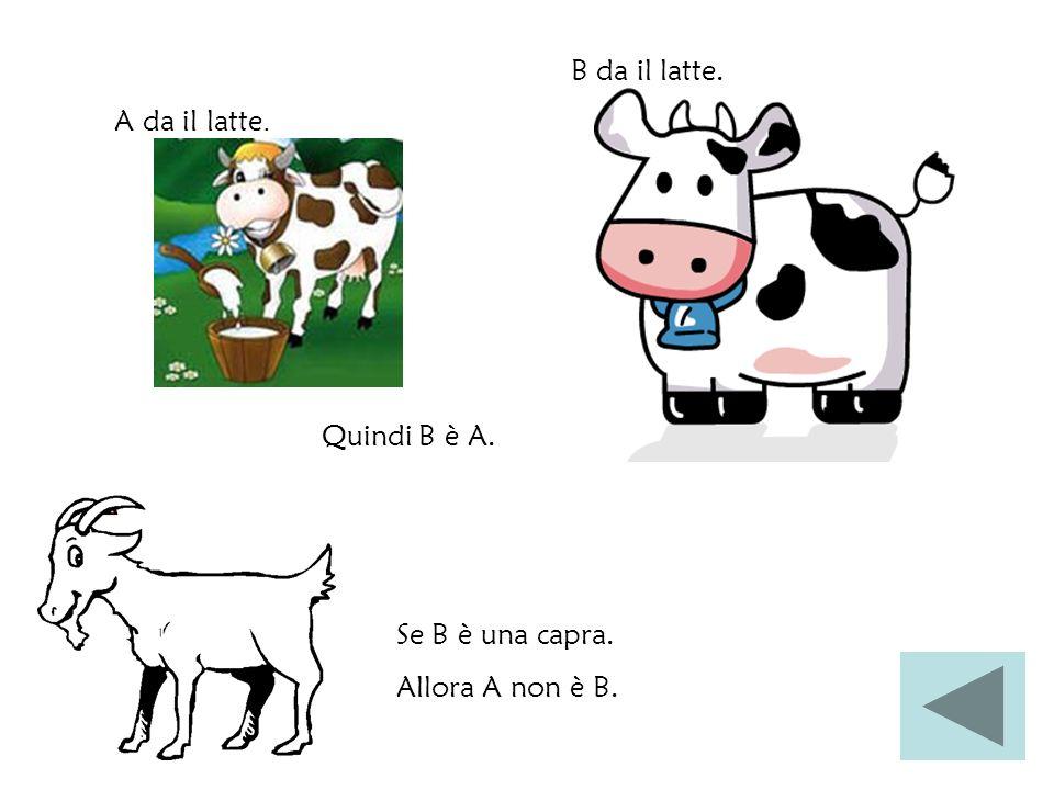 B da il latte. A da il latte. Quindi B è A. Se B è una capra. Allora A non è B.