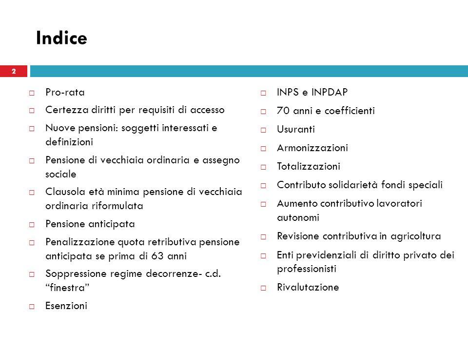 Indice 3/25/2017 Pro-rata Certezza diritti per requisiti di accesso