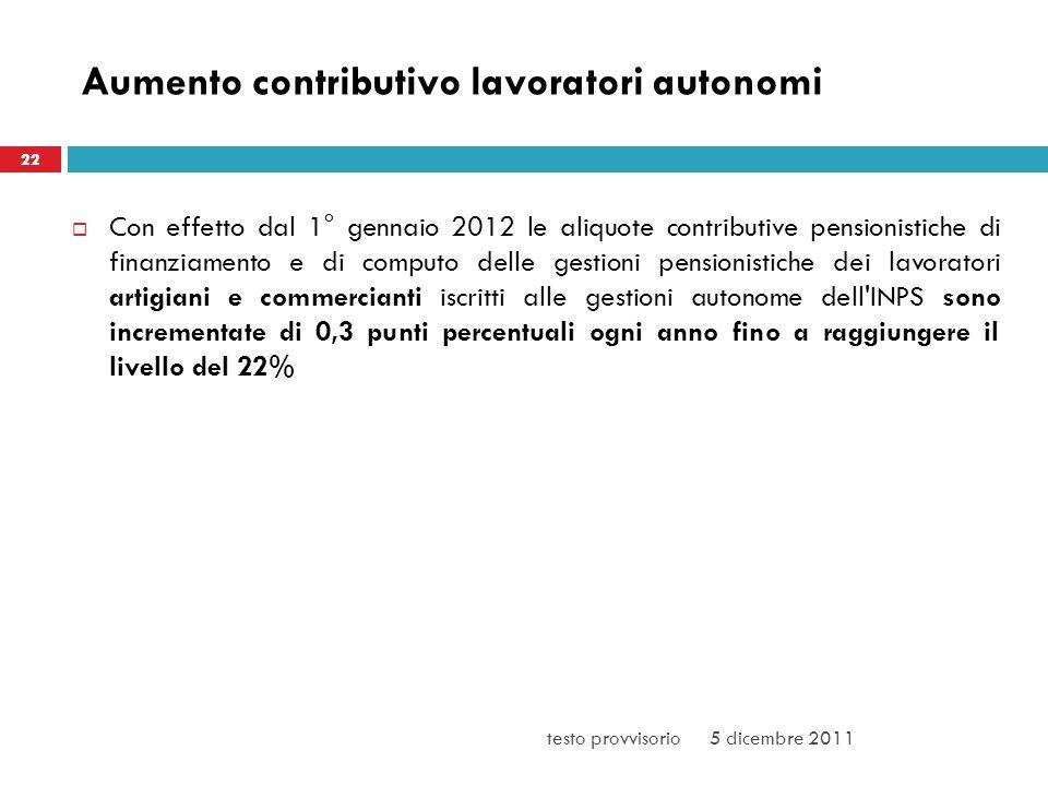 Aumento contributivo lavoratori autonomi