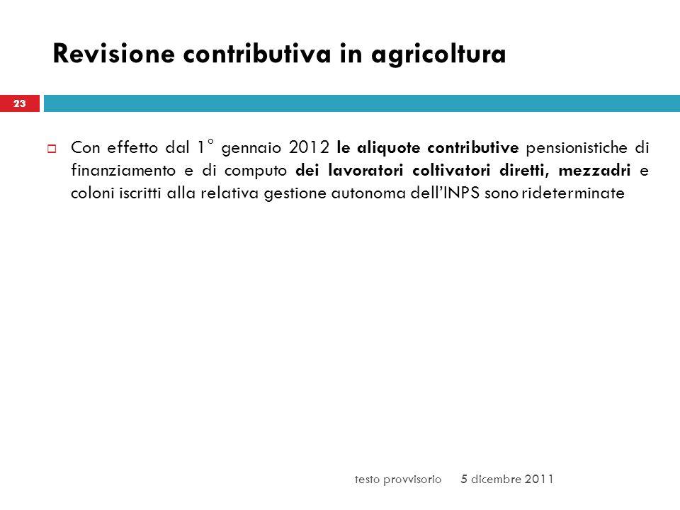Revisione contributiva in agricoltura