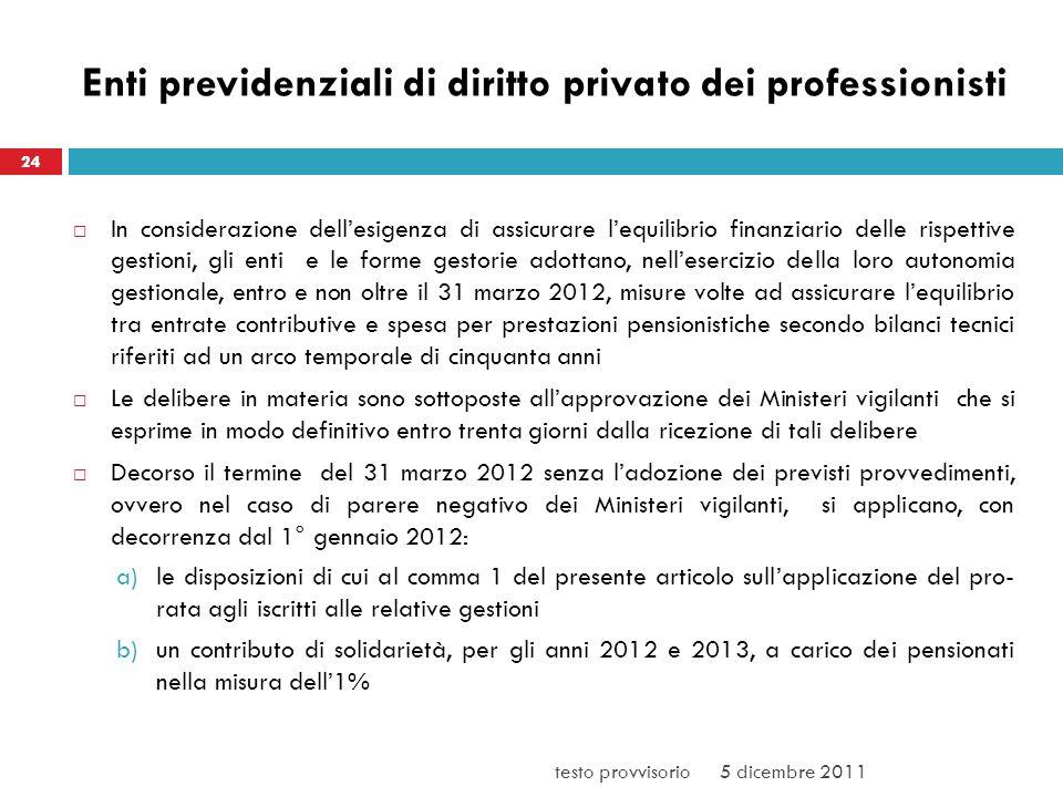 Enti previdenziali di diritto privato dei professionisti
