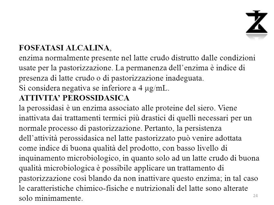 FOSFATASI ALCALINA, enzima normalmente presente nel latte crudo distrutto dalle condizioni usate per la pastorizzazione.
