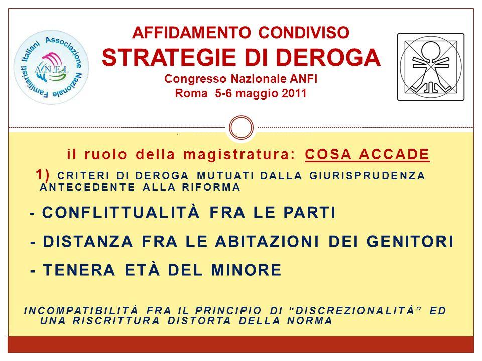 AFFIDAMENTO CONDIVISO STRATEGIE DI DEROGA Congresso Nazionale ANFI Roma 5-6 maggio 2011