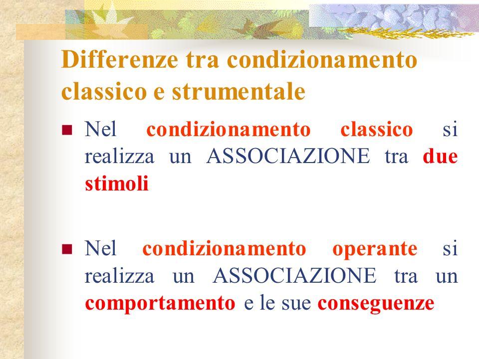 Differenze tra condizionamento classico e strumentale
