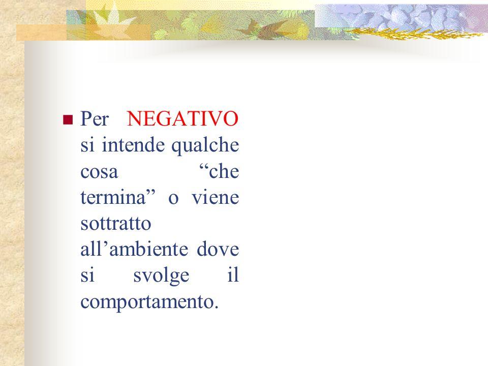 Per NEGATIVO si intende qualche cosa che termina o viene sottratto all'ambiente dove si svolge il comportamento.