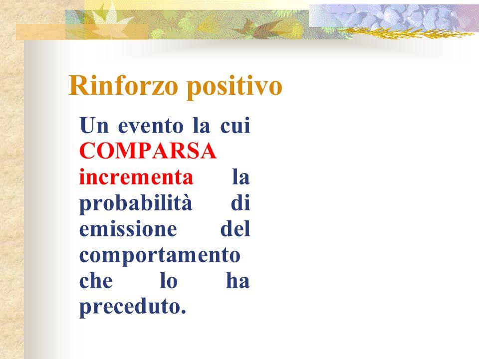 Rinforzo positivoUn evento la cui COMPARSA incrementa la probabilità di emissione del comportamento che lo ha preceduto.